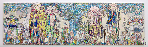 Takashi Murakami - 69 Arhats Beneath the Bodhi Tree, 2013  Acrylic, gold and platinum leaf on canvas mounted on board - 3000 x 10000 mm. Courtesy Blum & Poe, Los Angeles ©2013 Takashi Murakami/Kaikai Kiki Co., Ltd. All Rights Reserved.