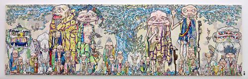Takashi Murakami - 69 Arhats Beneath the Bodhi Tree, 2013  Acrylic, gold and platinum leaf on canvas mounted on board - 3000 x 10000 mm. Courtesy Blum & Poe, Los Angeles ©2013 Takashi Murakami/Kaikai Kiki Co., Ltd. All Rights Reserved.